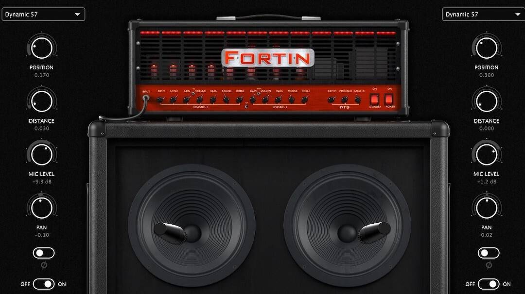 Neural DSP Fortin cabinet and mic - settings for Guitar 2
