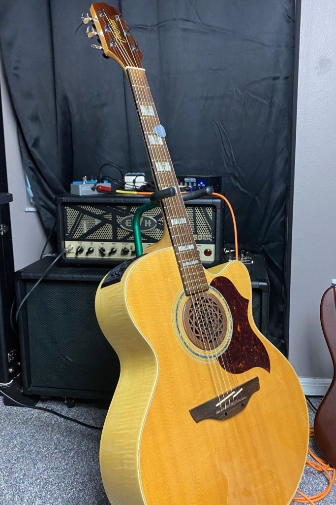 Takamine Acoustic guitar on guitar stand